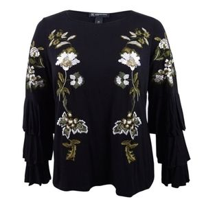 International Concepts Embroidered Tier Sleeve Top